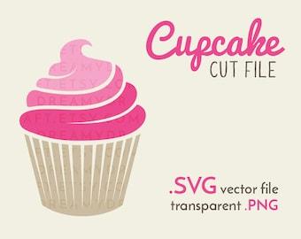 Cupcake cut file | Pink cupcake - dessert clip art | SVG - vector - PNG | Cricut or silhouette cutting machine