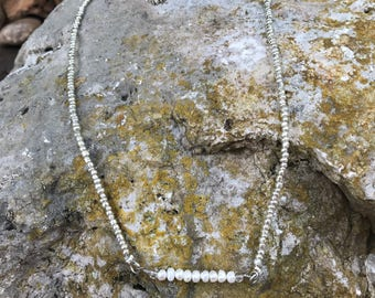 Glass Pearl Bar Centered on a Silver Tone Seedbead Necklace