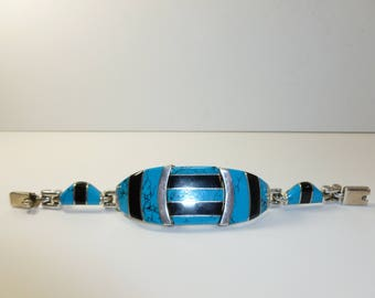 """7"""" Vintage Sterling Mexican Bracelet - Turquoise + Onyx"""