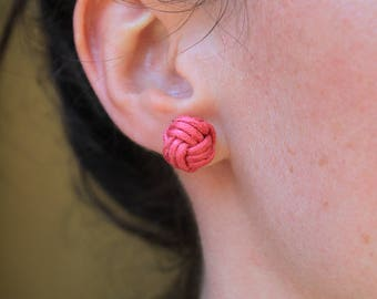 Japanese knot earrings, pink earrings,Sterling Silver post,  monkey fist knot earrings, chinese knots, gift for her
