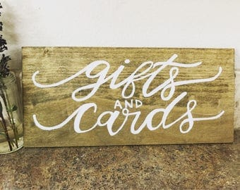 Gifts and cards wooden rustic sign