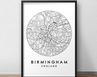 Birmingham City Print, Street Map Art, Birmingham Map Poster, Birmingham Map Print, City Map Wall Art, Birmingham Map, Travel Poster, UK