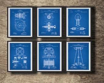 Tesla blueprint etsy tesla blueprint patent tesla poster tesla wall art tesla coil tesla print malvernweather Gallery