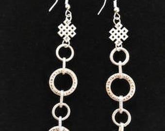 Long Textured Circle Dangle Drop Earrings