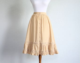 1950s Corduroy Circle Skirt with Buttons and Pockets