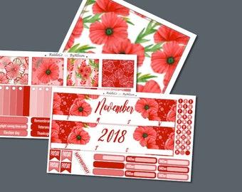 """November 2018 Monthly Planner Sticker Kit """"Poppy"""": Made to fit Erin Condren Life Planner"""