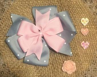 Light Grey and Baby Pink pinwheel Bow