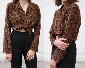 Vintage Leopard Shirt Jacket! David Paul New York, Leopard Print, Statement Shirt, Cat Girl! GGGV# 18