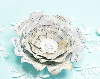 Music notes paper flower. Sheet music large paper flowers. Nursery flowers wall art. Wedding backdrop. Baby shower decor. Girls room decor.