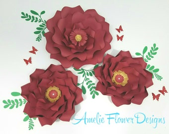 Red paper flowers nursery wall. Large red nursery flowers wall. Nursery red flowers wall. Wedding red flowers wall. Girls room flowers red.