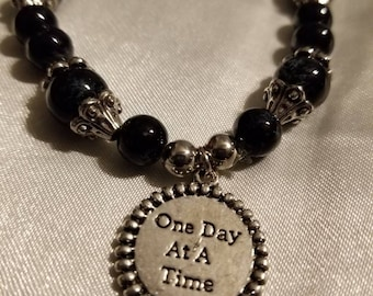 One Day At A Time NA and AA Black and Silver Beaded Stretch Bracelet