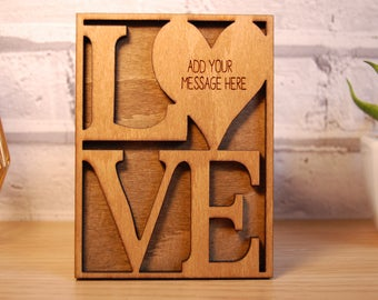 Personalised Wooden Card, Mothers Day Card, Anniversary Card Personalised Wooden Engraved plaque LOVE