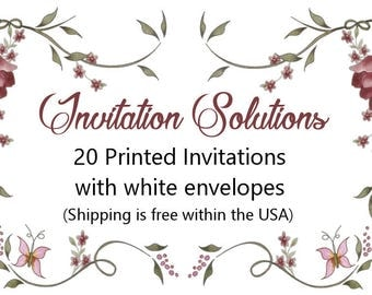 20 Printed invitations with envelopes - Add-on for custom invitation