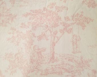 Minky Toile Fabric in Pink and White