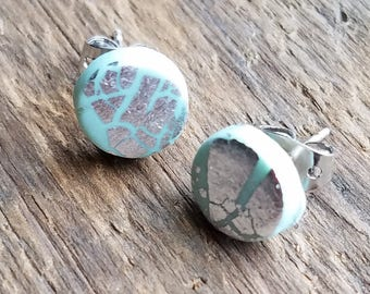 Mint and Silver Leaf Accent Post Earrings