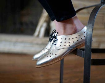 Women's Perforated Oxford, handmade brogue shoes