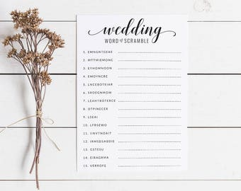 Black and White Bridal Shower Word Scramble