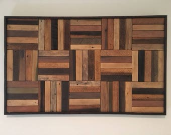 Rustic Lath Wood Panels, reclaimed wood wall art