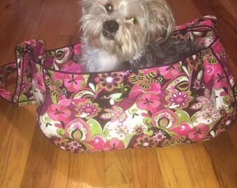 Funky Print Dog Tote Bag, Pet Carrier, Dog Sling, Messenger Bag