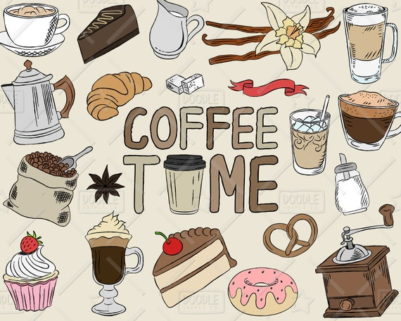 Coffee Clipart Vector Pack Coffee Shop Bakery Cafe Clipart