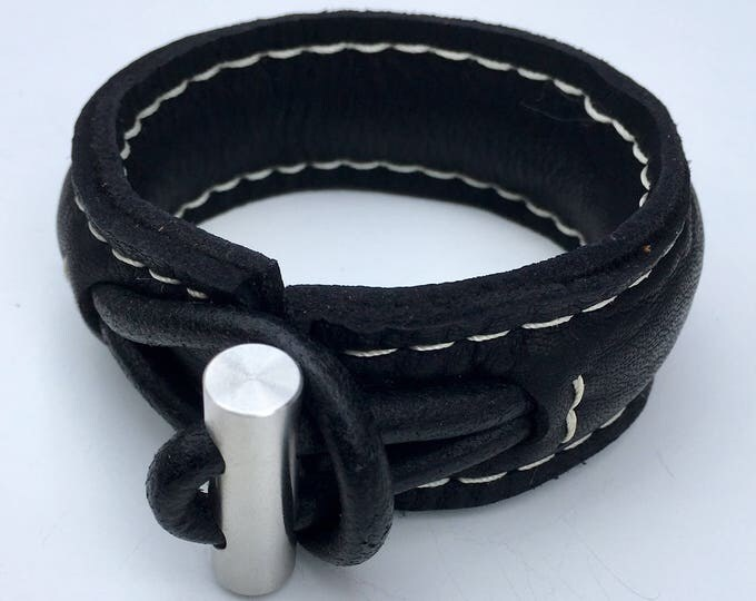 Free shipping within NL Yakleather bracelet handmade design natural leather stainless steel