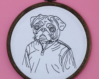 Pug Dog Being Casual - Embroidery Hoop Wall Art