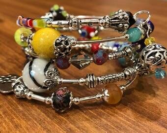 Colorful memory wire cuff bracelet