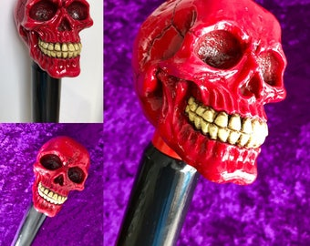 Hand Crafted Macabre Red Skull Walking Cane.