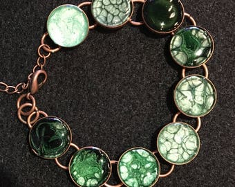 Tri-tonal Green bracelet (matching necklace sold separately). Copper finish.