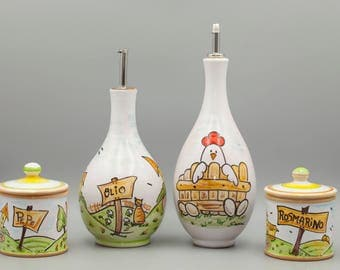 Hand painted ceramic condiment set