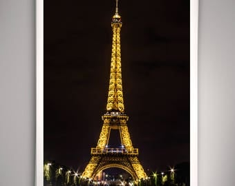 Eiffel Tower Night Print - Paris, France, Night Photography, Travel