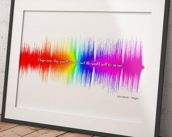 Imagine John Lennon Soundwave Pride Poster Gift Audiophile