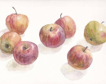 Original watercolor still life with apples on white background / Botanical art / Food art / Fruit / Realistic fruit art / Wall art / Red