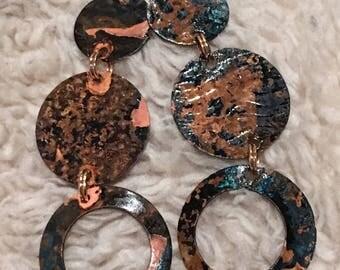 Copper Patina Dangel Earrings