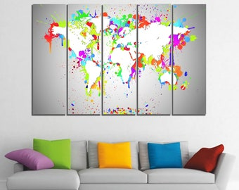 World Map Large Watercolor Canvas Panels Set, Abstract World Map Print, Panels on Canvas Wall Art for Home & Office Decor