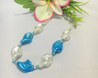 Blue and White Necklace, Glass Foil Wave beads, white and blue catseye beads, Foil Necklace, Women's Necklace, Summer Necklace