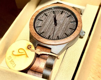 Handmade Wood Watch, Men's Wooden Watch, Mens Wood Watch,Wood Watches for him, personalize watch, Boyfriend Gift, Gifts for Dad, Gift