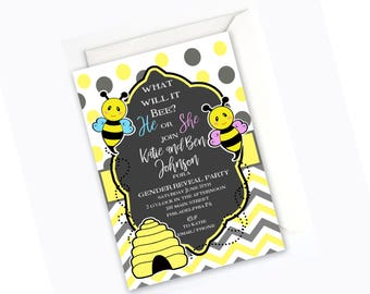 What Will It Bee? Custom Bee Gender Revel or Baby Shower Invitation