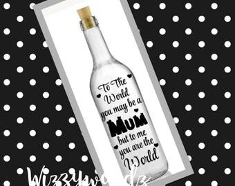 Personalised Mother's Day bottle lamp