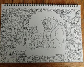 A4 Beauty and the Beast drawing