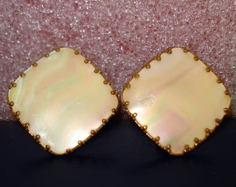 Vintage Mother Of Pearl Square Clip On Earrings 1970s