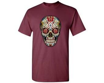 Skull Shirts for Men Tshirts T Shirts Tees Floral Sugar Skull tshirt Day of the Dead t Shirt