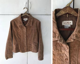 1990's Women's Brown Suede Leather Jacket | Vintage Suede Coat | Women's 90's Leather Western Style Jacket | 90s Fall Coat