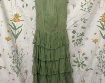 Vintage 50s Olive Green Dress