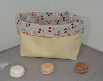 Leather and Cherry Pattern Storage Basket