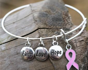 Breast Cancer Charm Bracelet