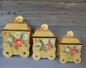 RETRO 70s Flour, Sugar, Coffee Canisters, Wagon Wheel Jars, Orange, White, Yellow Flowers, Floral, Lid, Covered, Made in Japan, Tan, Brown