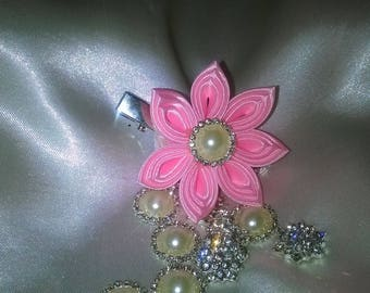 way of satin ribbon kanzashi flower hair clip pink with a half Ivory Pearl surrounded by Rhinestone Heart