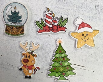 Christmas random pack of 10 buttoms