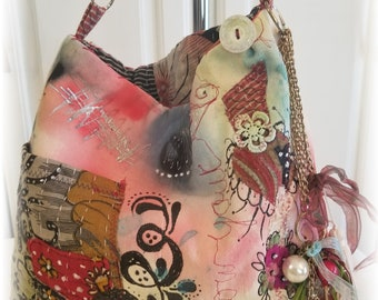 Hippy BoHo Bohemian 'Follow Your HEART' Handsewn Upcycled Crossbody Handbag Antique White Denim Gift Boxed Gift for Her, Hand Painted OOAK